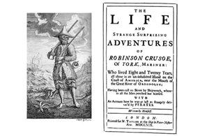 Робинзон Крузо, обложка первого издания (1719 г.)