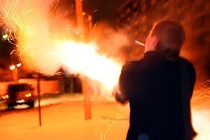 Запуск фейерверка в Новогоднюю ночь