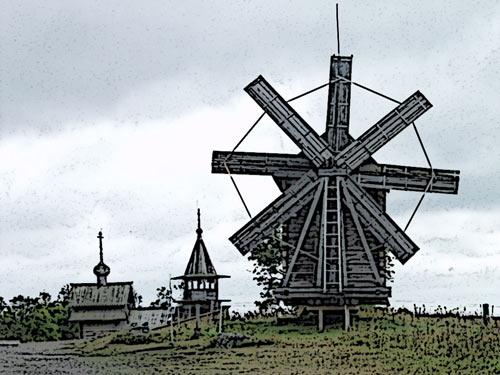 Деревянная мельница XVII века - Кижи
