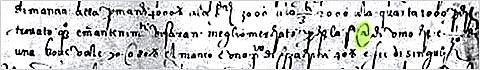 Отрывок письма флорентийского торговца с написанным символом @