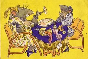 А сало русское едят — советская открытка, 1950 год
