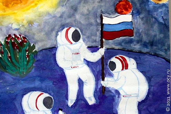 Космонавты садят цветы на Луне.