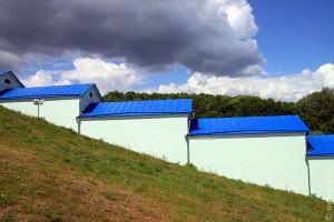Синие крыши в Коренной пустыни.