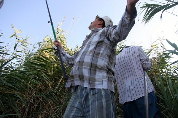 Рыбалка на Кубани. Дядя Петя забрасывает.