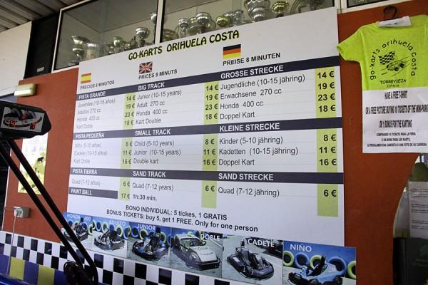 Цены Go carts в 2013 году.