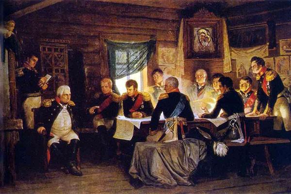 Военный совет в Филях. А. Д. Кившенко, 1812 г.