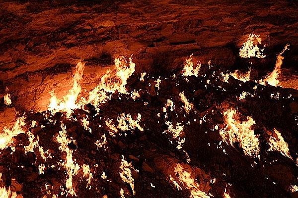 Дарваза вблизи — никакого ада — просто горит газ