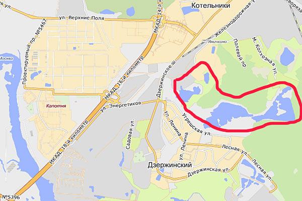 Схема подъезда к карьерам в Дзержинском