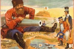 Русский плакат начала русско-японской войны: русский казак защищает Маньчжурию и Порт-Артур, 1904 год.