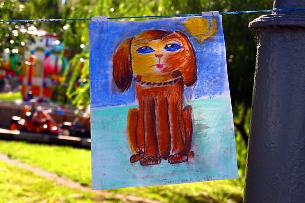 Муму. Детский рисунок на Мумуфесте в Орле. 2015 г.