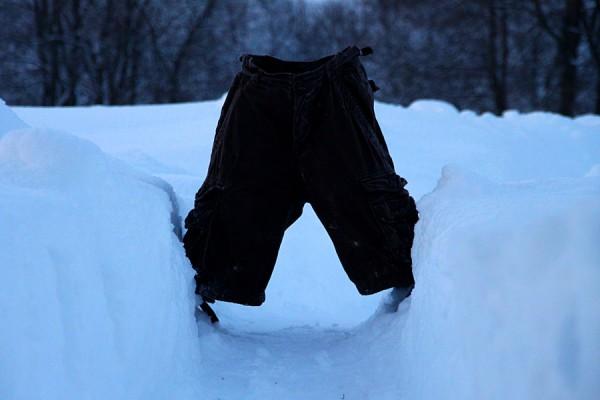Замороженные шорты на дороге.